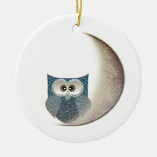 Owl on the Moon Round Ceramic Decoration