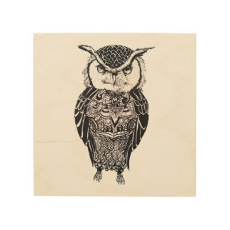 Owl on Wood Panel