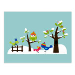 Owl Owls Birds Winter Snow Cute Tree Cartoon Post Cards