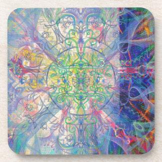 Owl Painting in Cool Gem Tones Coaster