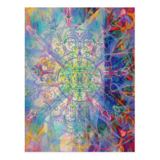 Owl Painting in Cool Gem Tones Postcard
