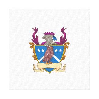 Owl Perching Knight Helmet Crest Drawing Canvas Print