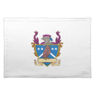 Owl Perching Knight Helmet Crest Drawing Placemat