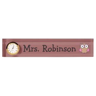 Owl Pink and Tan Name Plate