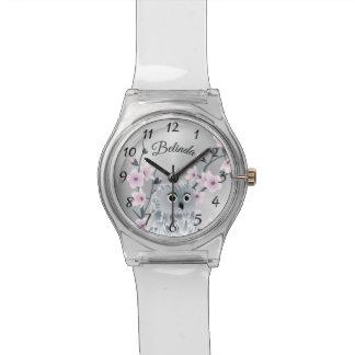 Owl Pink Cherry Blossoms Monogram Watch
