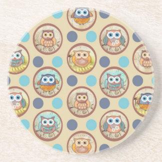 Owl Polka Dots Print Beverage Coaster