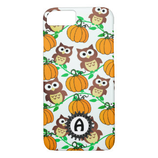 Owl & Pumpkin Vines Autumn Monogram Case