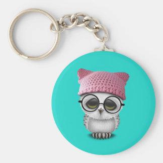 owl pussy hat basic round button key ring
