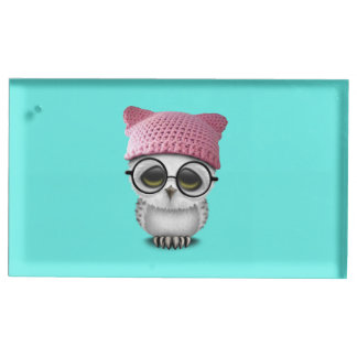 owl pussy hat table card holder