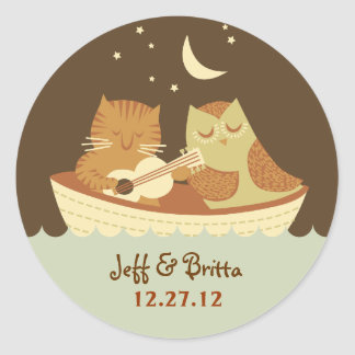 Owl & Pussycat Storybook Wedding (Blue and Brown) Round Sticker