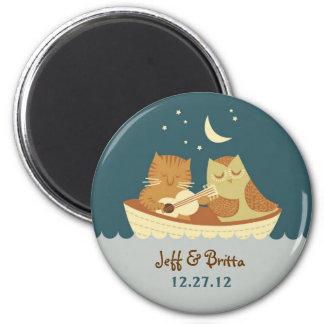 Owl & Pussycat Storybook Wedding (Sea Blue) 6 Cm Round Magnet