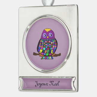 Owl Rainbow Silver Plated Banner Ornament
