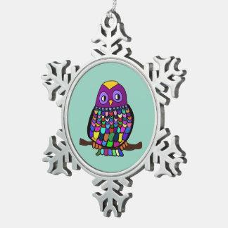 Owl Rainbow Pewter Snowflake Ornament