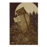 Owl Reading a book by Moonlight Print
