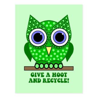 owl recycle postcard