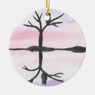 Owl Reflected Ceramic Ornament