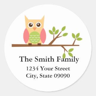 Owl Return Address Lables  (#LABL002) Classic Round Sticker