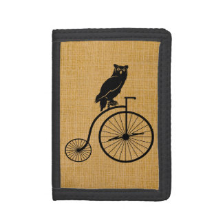 Owl Riding a Vintage Penny Farthing Bicycle Tri-fold Wallets