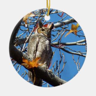 owl round ceramic decoration