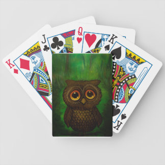 Owl sad eyes bicycle playing cards