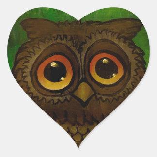 Owl sad eyes heart sticker