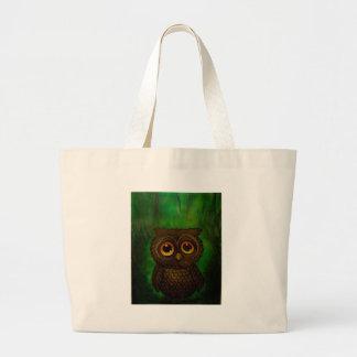 Owl sad eyes large tote bag
