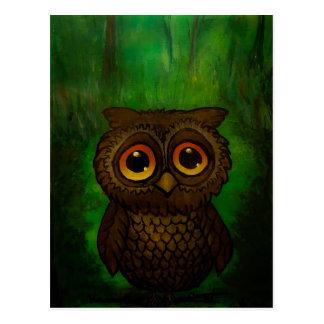 Owl sad eyes postcard