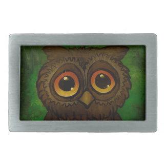 Owl sad eyes rectangular belt buckle