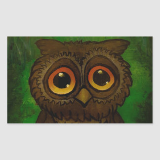 Owl sad eyes rectangular sticker