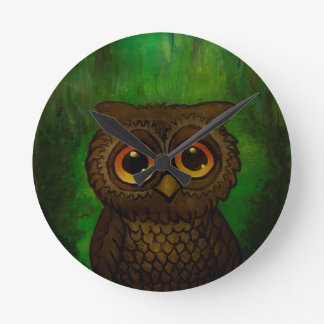 Owl sad eyes round clock
