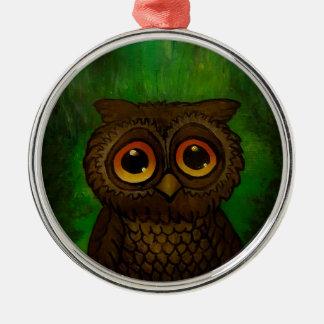 Owl sad eyes Silver-Colored round decoration