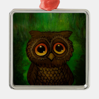 Owl sad eyes Silver-Colored square decoration