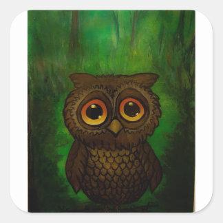 Owl sad eyes square sticker