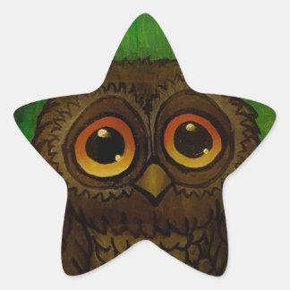 Owl sad eyes star sticker