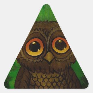 Owl sad eyes triangle sticker