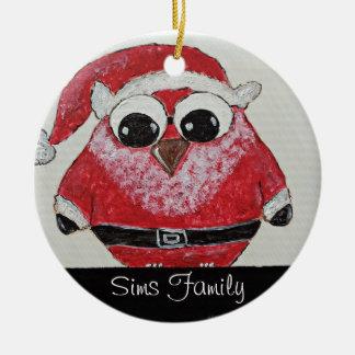 owl santa Double-Sided ceramic round christmas ornament