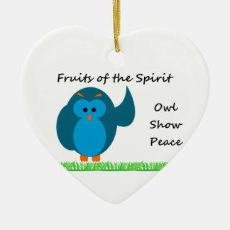 Owl Show Peace Heart Ornament