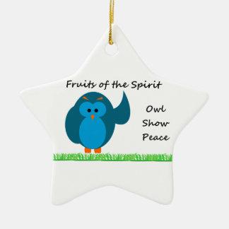 Owl Show Peace Star Ornament