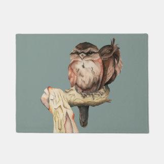 Owl Siblings Watercolor Portrait Doormat