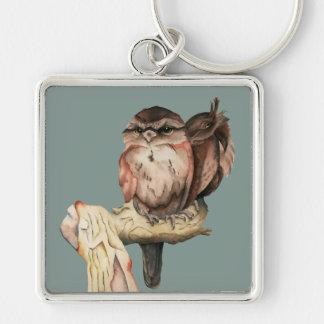 Owl Siblings Watercolor Portrait Key Ring