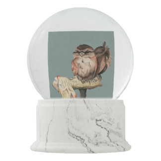 Owl Siblings Watercolor Portrait Snow Globe