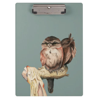 Owl Siblings Watercolor Portrait with Name Clipboard