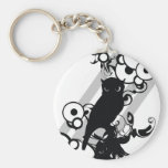 Owl Silhoutte Basic Round Button Key Ring