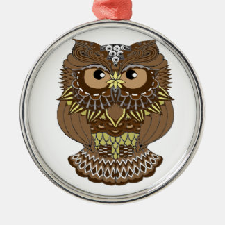 owl Silver-Colored round decoration
