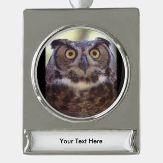 owl silver plated banner ornament
