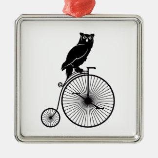 Owl Sitting on a Bike Metal Ornament