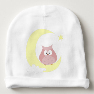 Owl sitting on the Moon Baby Beanie