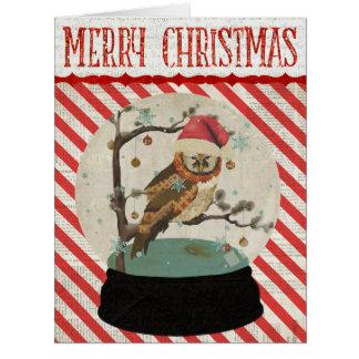 Owl Snowglobe  Christmas Card