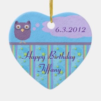 Owl Star Birthday Celebration Double-Sided Heart Ceramic Christmas Ornament