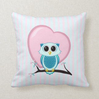 Owl Stripes & Heart American MoJo Pillows Throw Cushion